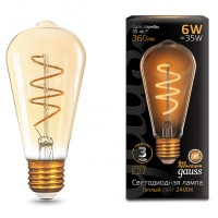 Лампа Gauss LED Filament ST64 Flexible E27 6W Golden 2400К 157802006