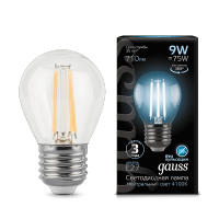 Лампа Gauss LED Шар Filament E27 9W 4100K